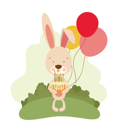 cute bunny with helium balloons vector illustration design