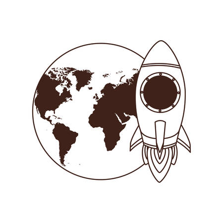 rocket with planet earth background vector illustration design