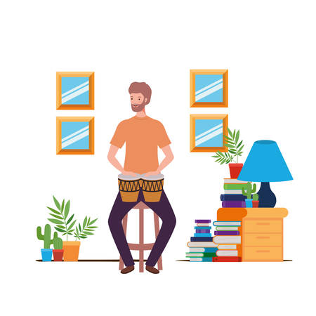 young man with congas in living room vector illustration design