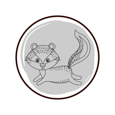 cute and adorable skunk with circular frame vector illustration design