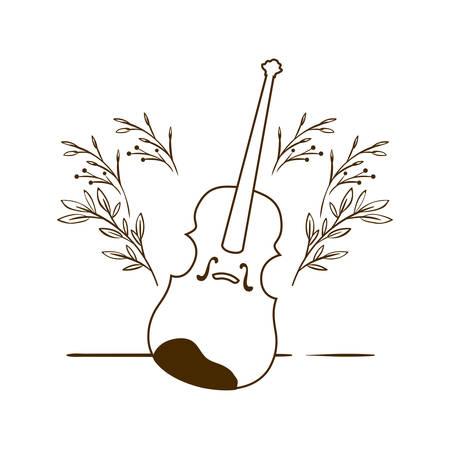 musical instrument fiddle on white background vector illustration design Ilustração