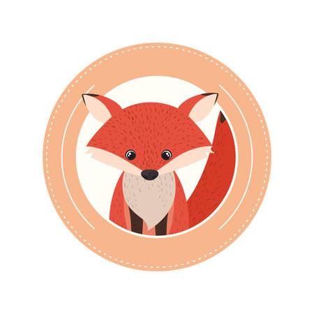 cute and adorable fox with circular frame vector illustration design