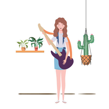 woman with electric guitar and houseplants on macrame hangers of background vector illustration design