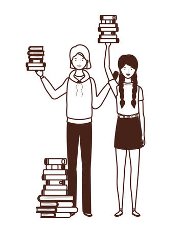 silhouette of women with stack of books on white background vector illustration design