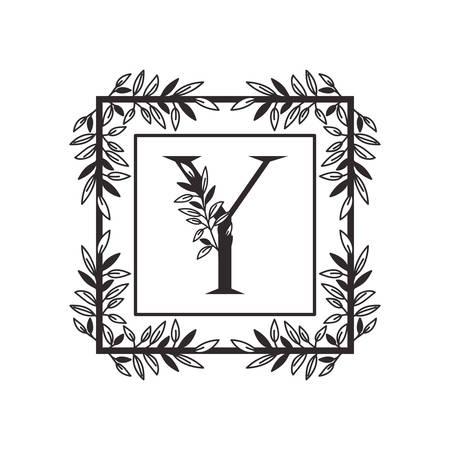 Lettre Y de l'alphabet avec la conception d'illustration vectorielle de cadre de style vintage
