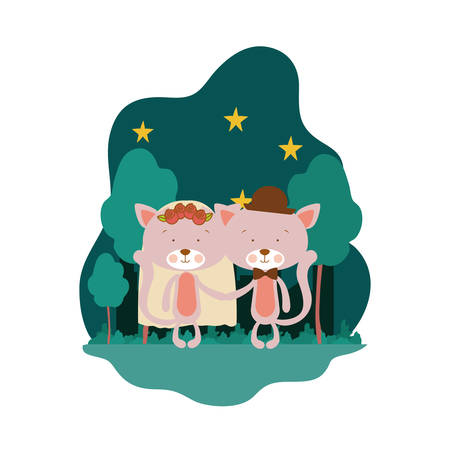 cute couple of cats with landscape background vector illustration design