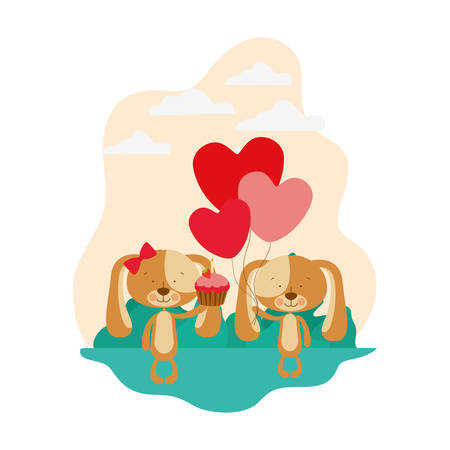 cute couple of puppies with landscape background vector illustration design
