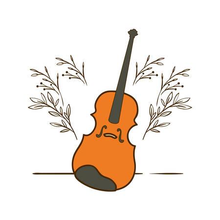 musical instrument fiddle on white background vector illustration design Çizim