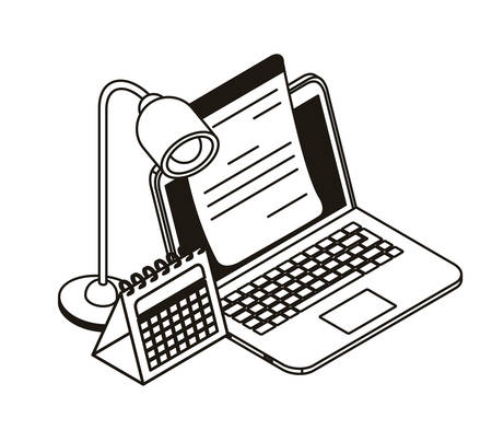 laptop with sheets of paper on white background vector illustration design