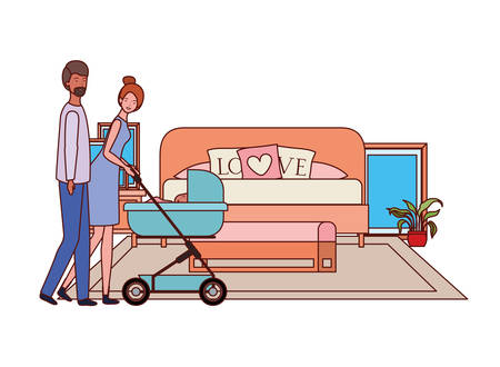 parents couple with little baby in the bedroom vector illustration design 向量圖像