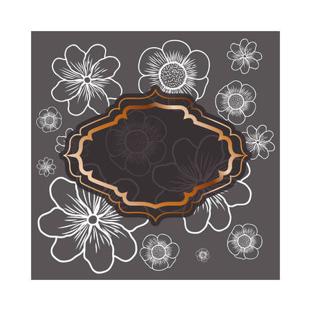 frame with flowers isolated icon vector illustration design 版權商用圖片 - 129860400