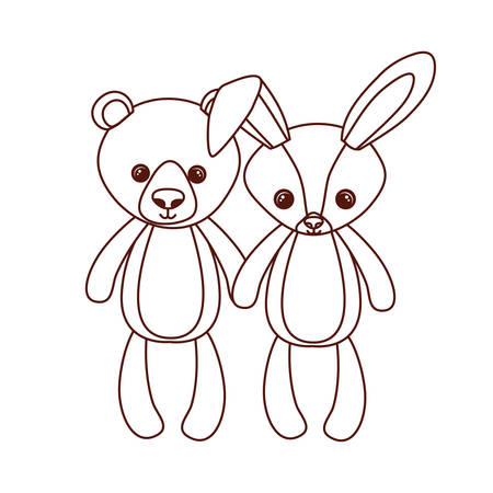cute bear and rabbit stuffed baby toys vector illustration design