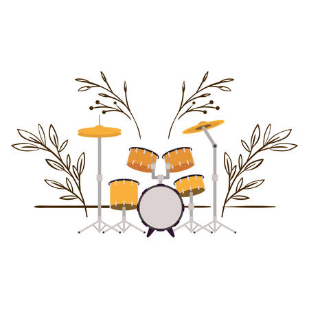 drum kit with branches and leaves in the background vector illustration design Çizim