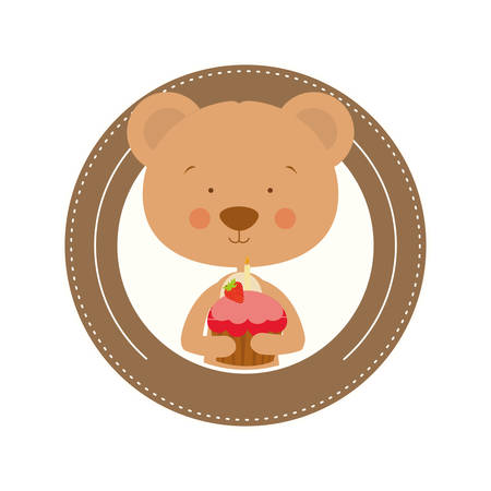 cute bear with cake in hand vector illustration design Illusztráció