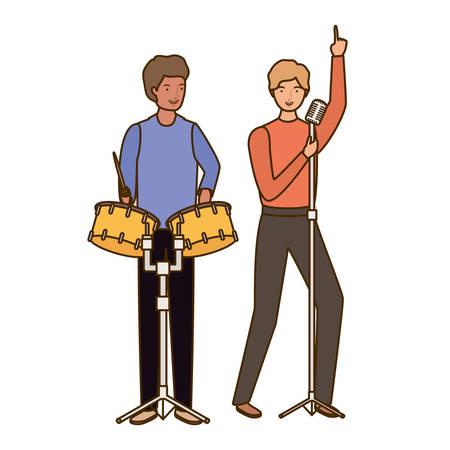 men with musicals instruments on white background vector illustration design Çizim