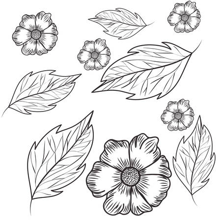 pattern flowers with leafs isolated icon vector illustration design Banque d'images - 129860508