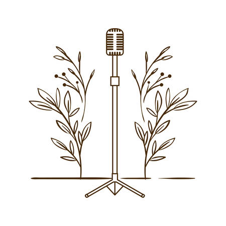 microphone with stand on white background vector illustration design 向量圖像