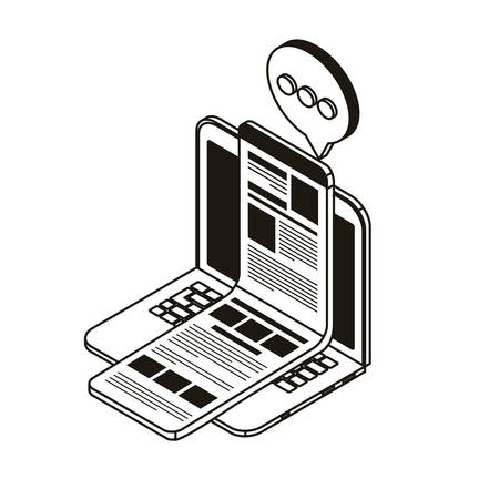 laptop with email notifications on white background vector illustration design