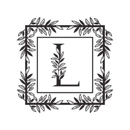 letter L of the alphabet with vintage style frame vector illustration design Illustration