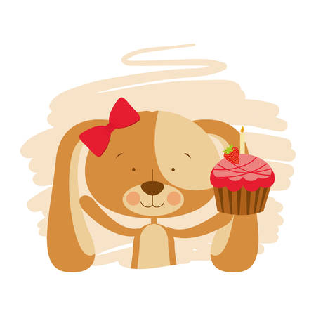 cute puppy with hearts and cake vector illustration design Иллюстрация