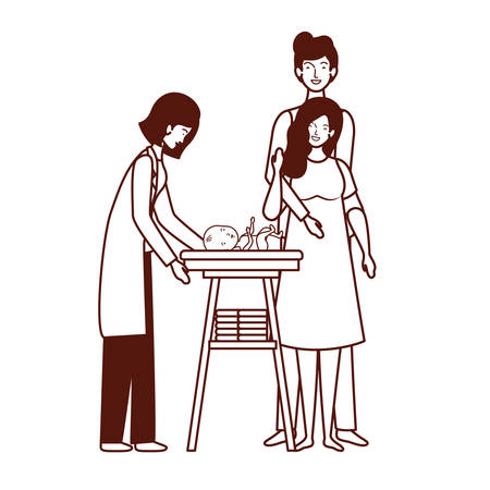 parents couple with little baby in changer vector illustration design