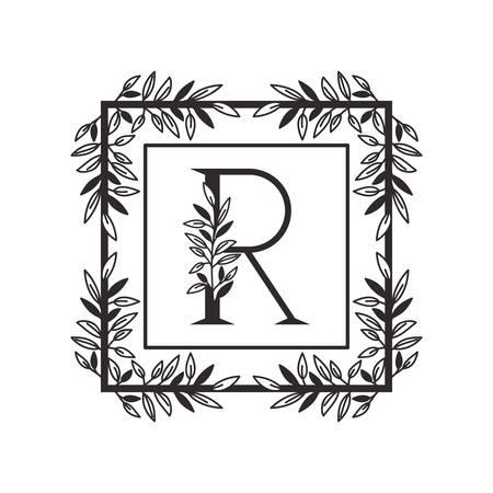letter R of the alphabet with vintage style frame vector illustration design Ilustração