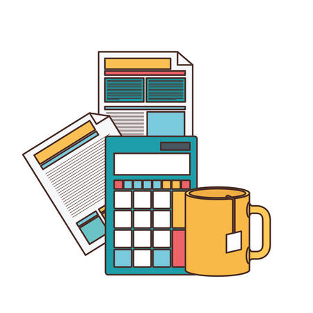 file sheet with calculator in white background vector illustration design