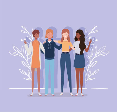 young and beautiful interracial girls group characters vector illustration design