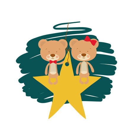 cute couple of bears sitting in the star vector illustration design