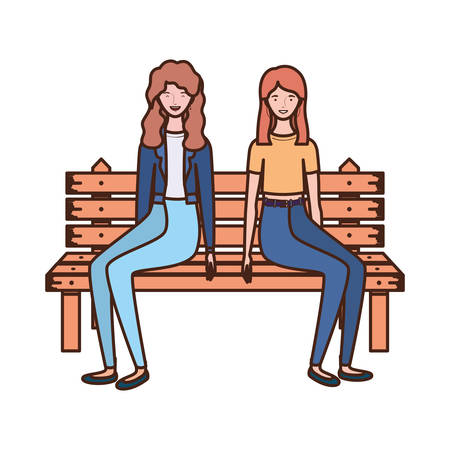 women sitting in park chair on white background vector illustration design
