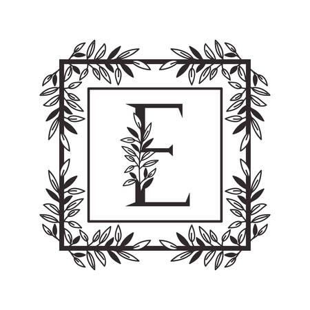 Lettre E de l'alphabet avec la conception d'illustration vectorielle de cadre de style vintage