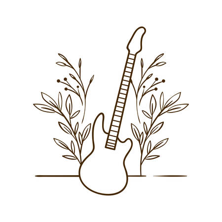 musical instrument electric guitar on white background vector illustration design