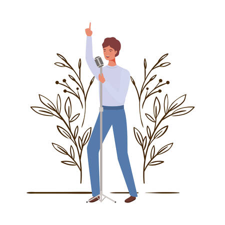 man with microphone and branches and leaves in the background vector illustration design 向量圖像