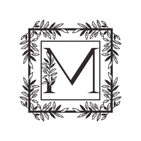 letter M of the alphabet with vintage style frame vector illustration design Illusztráció