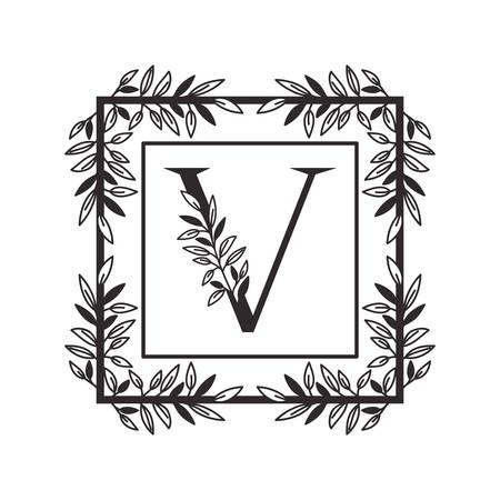 lettre V de l'alphabet avec la conception d'illustration vectorielle de cadre de style vintage