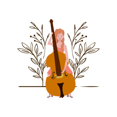 young woman with fiddle on white background vector illustration design