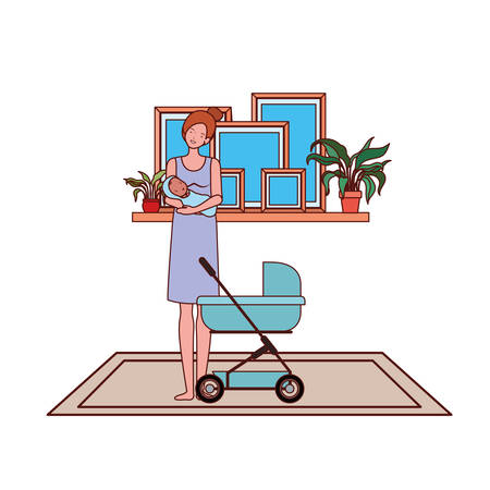 cute pregnancy mother with little baby in cart vector illustration design