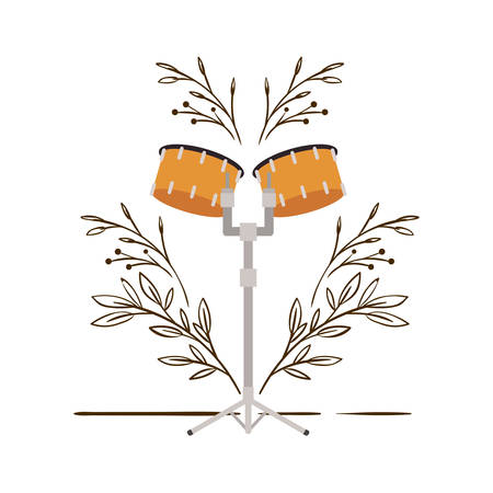 timpani with branches and leaves in the background vector illustration design 向量圖像