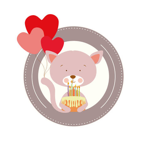 cute cat with helium balloons and cake vector illustration design Illusztráció