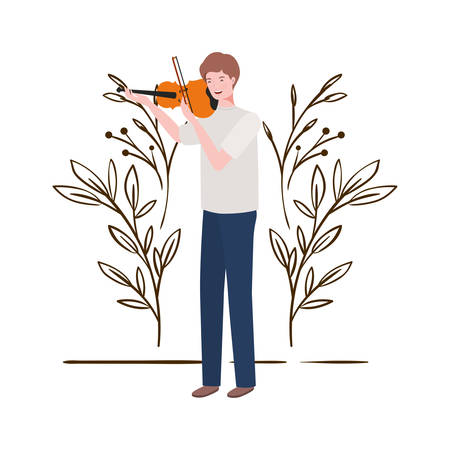 man with fiddle and branches and leaves in the background vector illustration design 向量圖像