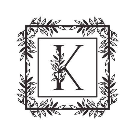 letter K of the alphabet with vintage style frame vector illustration design Illustration