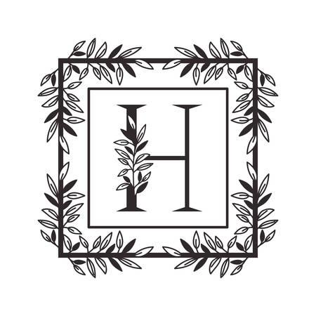 letter H of the alphabet with vintage style frame vector illustration design