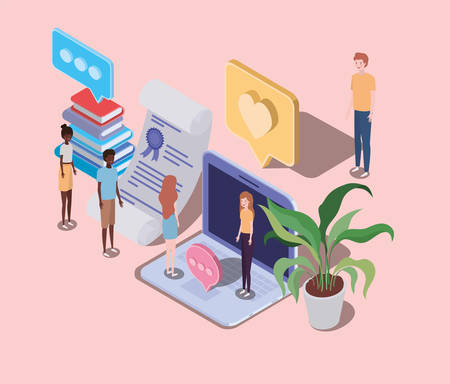 online education with laptop and mini people vector illustration design