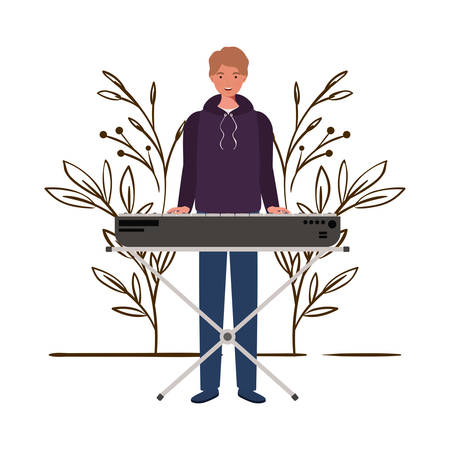 man with piano keyboard and branches and leaves in the background vector illustration design 向量圖像