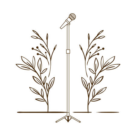microphone with stand on white background vector illustration design Ilustrace