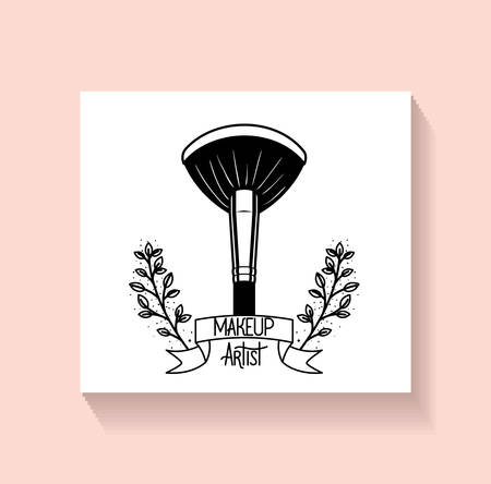 make up brush accessory in floral frame vector illustration design Ilustrace