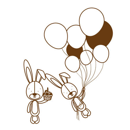 silhouette of cute bunny with helium balloons vector illustration design Illusztráció