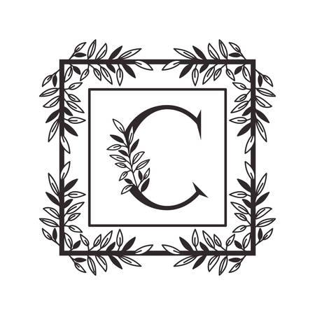 letter C of the alphabet with vintage style frame vector illustration design