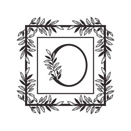 letter O of the alphabet with vintage style frame vector illustration design Illustration