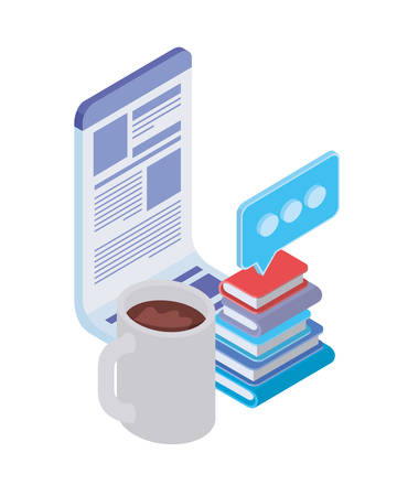 stack of books with office objects on white background vector illustration design Illusztráció